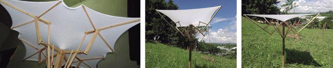 La cubierta textil ayuda a rigidizar el sistema plegable del paraguas, generando la forma final del modelo