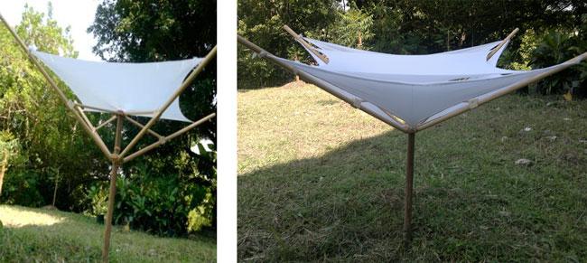 Modelo experimental de un paraguas retráctil de cuatro miembros