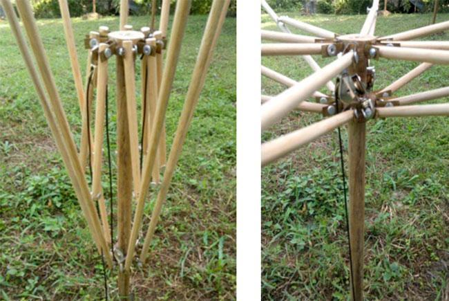 Se agregó un sistema de polea para tener la propiedad de plegado