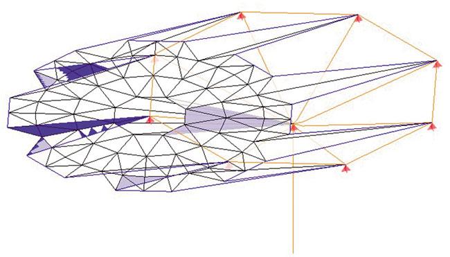 Se generó la malla octagonal y se dio paso para obtener la forma virtual de la cubierta parabólica