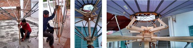 El modelado del paraguas retráctil ayudó a generar detalles constructivos más exactos para su funcionamiento al desplegado