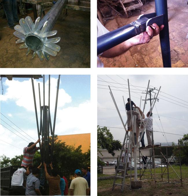 La manufactura en acero facilitó la construcción del paraguas retráctil, ya que por su alta resistencia a la tracción puede estabilizar la tensión que generará el manto sobre ella