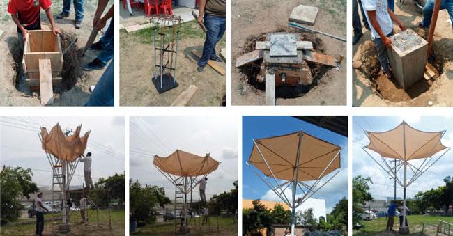Proceso constructivo del prototipo de paraguas retráctil, desde la cimentación hasta el montaje, y desplegado de la vela en la estructura, esto se desarrolló en la Facultad de Arquitectura de la Universidad Veracruzana, Campus Poza Rica