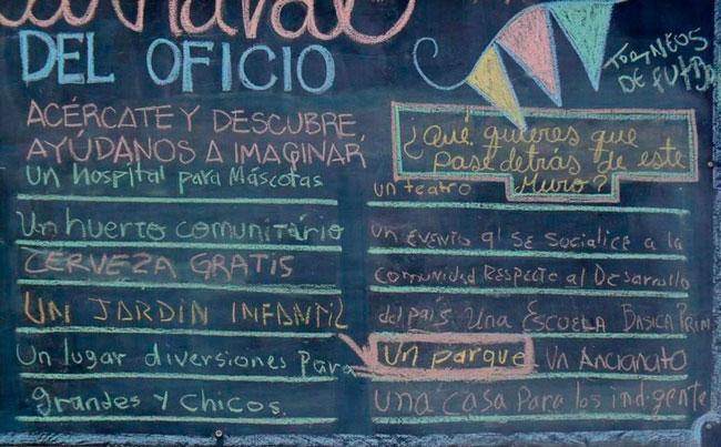 Actividad de diseño participativo. Lluvia de ideas aportadas por la comunidad de la localidad de Los Mártires para la intervención de un espacio público. Calle 13, centro de Bogotá